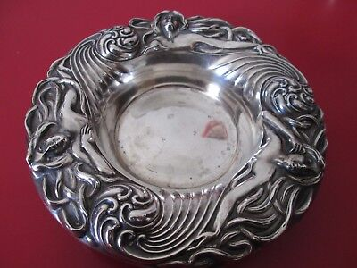 Antique ART NOUVEAU Period Ornate SEMI NUDE WOMAN - STERLING - BOWL or COASTER