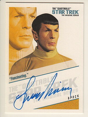 Quotable Star Trek Tos Auto Card Qa2 Leonard Nimoy Spock Fascinating - Rare
