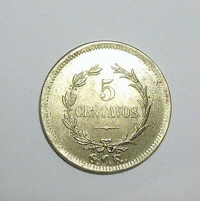 COSTA RICA - 5 Centavos 1919 - BRASS - Practically UNCIRCULATED - SCARCE thus !!