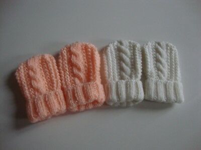 2 Pairs Hand Knitted Baby Mittens/Cable Design, Cream & Peach, 0-6 Mths, BNWOT