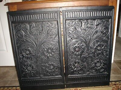 Antique Cast Iron Fire Place Beautiful Floral Pattern Wall Panels (2). Excellent