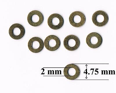 "Brass Washers M2, 10BA - 2mm, 5/64"",  0.080"" internal hole (Pkt of 10)"