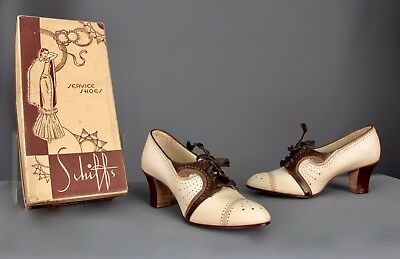 Sz 6 N Auth 1930's Cream Suede & Brown Leather 5-Eyelet Perforated Spectator