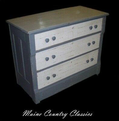 Antique Cottage Chic Eastlake 3 Drawer Oak Chest Painted Shabby Gray & White