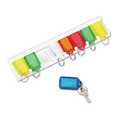Securit Color-Coded Key Tag Rack 8-Key Plastic White 10 1/2 x 1/4 x 2 1/2 04991