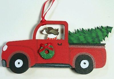 Springer Spaniel Dog  Red Truck Wooden Hand-painted 3-D Christmas Ornament - USA
