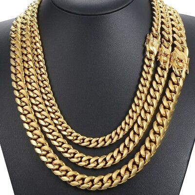 316L Stainless Steel Necklace Chain Silver Gold Miami Cuban Curb Hip Hop Mens