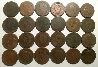 Lot of 24 Cull Large Cents Damaged Holed Bent Some Dates Draped Bust 1818 Group
