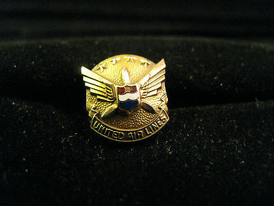 Vintage 10k Yellow Gold United Airlines Pilot Pin Tie Tack