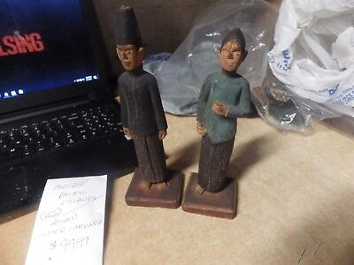 Pair Of Antique Hand Carved Asian Pacific Islands Wood Carvings Nice Paint Rare