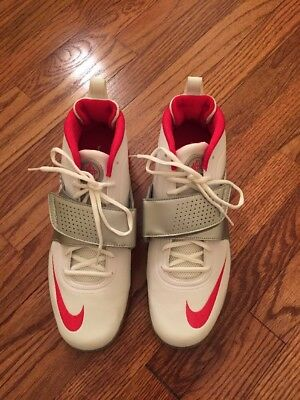 Nike New Huarache Lacrosse Athletic Shoe In White/red And Silver Size 12