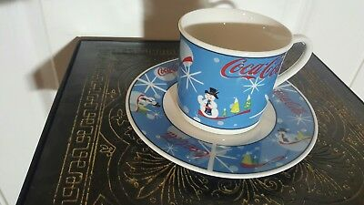 Coca Cola Coke Christmas Laughing Snowman Collectible 4 Coffee Cups With Saucers