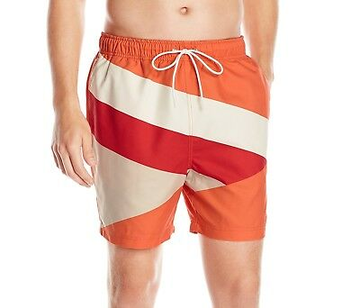 Nautica NEW Orange Mens US Size Large L Drawstring Board Surf Shorts $59 #021