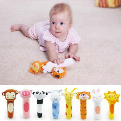 Boy Girls Newborn Baby Soft Sound Animal Plush Handbells Squeeze Rattle Toy Gift