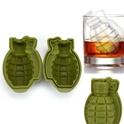 3D Grenade Shape Ice Cube Tray Mold Maker  Party Silicone Trays Mold Tool MO