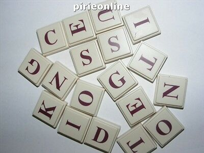 100 Spare upword hollow back 3D scrabble tiles craft maroon lettering
