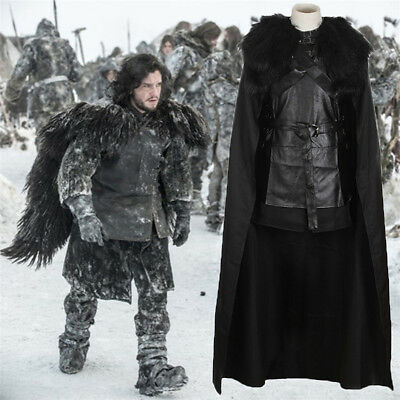 Game of Thrones Jon Snow Costume Outfit Black Warrior Cosplay Dress Full Set
