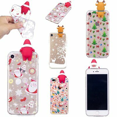 Christmas Festive Santa Reindeer Clear Phone Case Cover For iPhone X 7 8 Plus 6