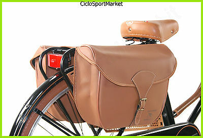 "Model DIEFFE /"" Vintage Retro /"" Black//Brown Bag Bicycle Eco-Leather Double"