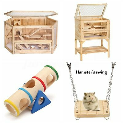 Wooden Hamster Pet Cage/Swing/Seesaw Tunnel Home Cage House Play Exercise Toys