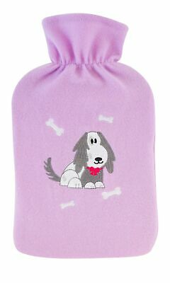 Lilac Dog 2 Litre Hot Water Bottle & Fleecy Cover
