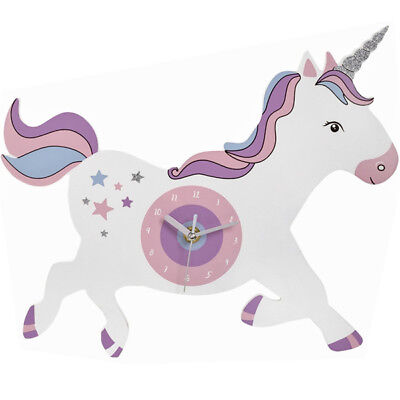 33Cm Unicorn Shaped Picture Wall Clock Magical Rainbow Hanging Girls Bedroom New