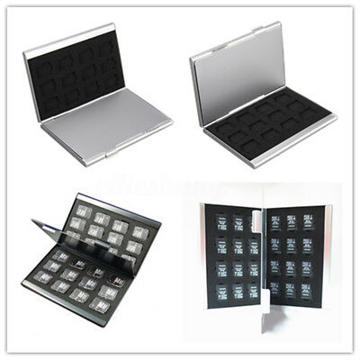 Silver Aluminum Memory Card Storage Case Box Holders For 24 TF SIM Micro SD Card