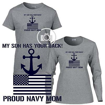 My Son Has Your Back Proud Navy Mom Ladies Short / Long Sleeve Gray T Shirt