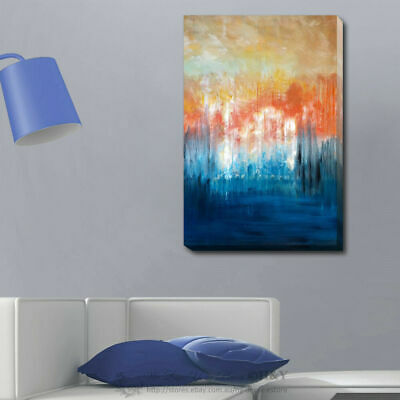 Abstract Stretched Canvas Print Framed Wall Art Home Office Decor Orange Blue