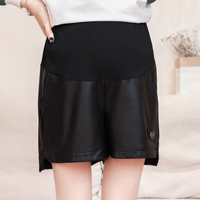 Hot Maternity Shorts Adjustable Pregnancy Trousers Faux Leather Short Pants