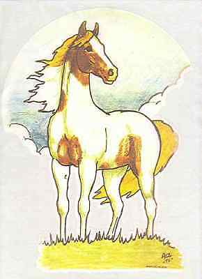 1970S Vintage T-Shirt Iron-On *Beautiful Horse With A Moon Background* Free S&H