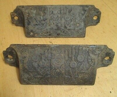 Pair Eastlake Bin Drawer Pulls - Ornate Victorian Hardware Cabinet, Apothecary