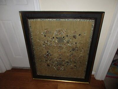 Antique 19th C Large Chinese Asian Silk Embroidery Panel Framed Dragon Flowers