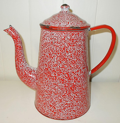 Charming Vintage French Enamel Coffee Pot ~Red & White Speckled Design
