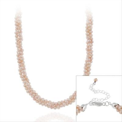 """925 Silver Freshwater Cultered Pink Pearl Three Row Twisted Necklace, 16"""""""