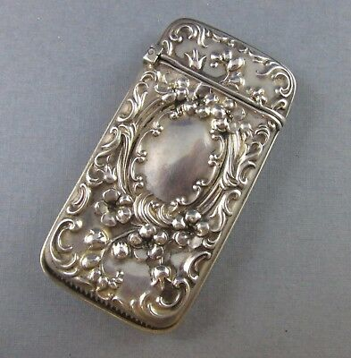 Vintage Sterling Silver 925 Match Safe Holder Repousse Swirl Flower Design 12.6G