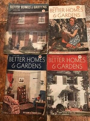 Lot Of 4 Antique 1938 edition Better Homes & Gardens Magazines