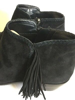 a9ad55a2970a SAM EDELMAN PAIGE Womens Black Suede Leather Fringe Ankle Boots Size ...