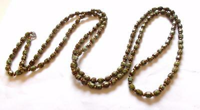 Vintage Art Deco Green Glass Agate Beads Extra Long Mottled Beaded Necklace