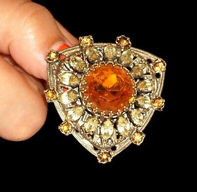 Antique Victorian Faceted Citrine Large Shield Shape  Brass Brooch  Pin