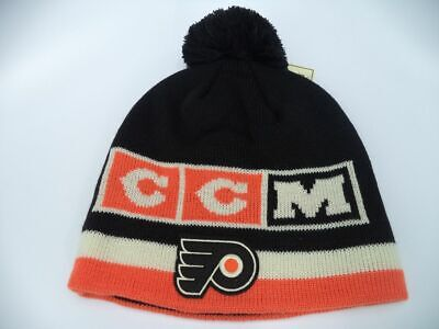 73028f890185be Philadelphia Flyers CCM NHL Cuffed Knit Pom Hat Cap Toque Beanie OSFA