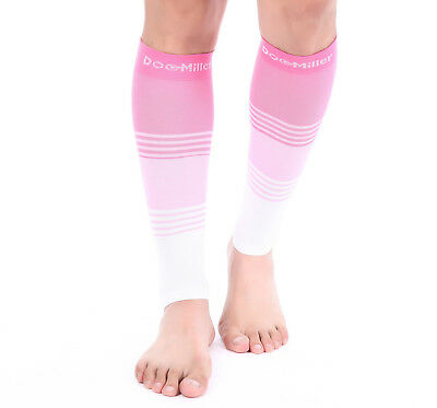 Doc Miller Calf Compression Sleeve 1 Pair 20-30mmHg Varicose Veins PINK/PINK/WHT