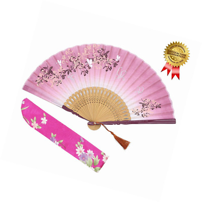 "OMyTea 8.27""(21cm) Women Hand Held Silk Folding Fans with Bamboo Frame - With a"