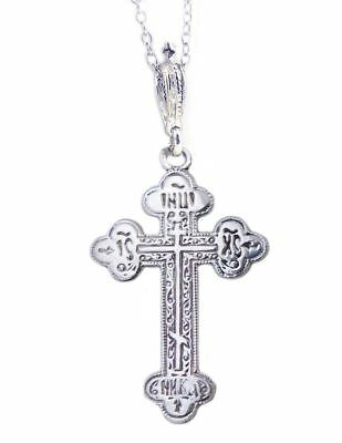 Ic Xc 925 Save Us Silver Byzantine Cross Pendant With Silver Chain 1 7/8""