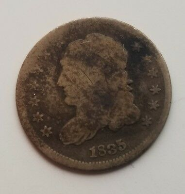 Circulated 1835 Capped Bust Silver Half Dime Grading Good G9756