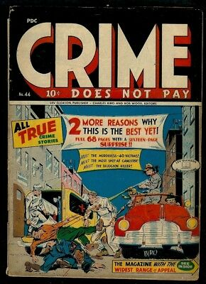 Crime Does Not Pay #44- Bloody Crime Cvr-First Responders Massacre-1945