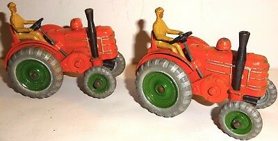 LOT of TWO (2) EARLY Vintage DINKY Meccano FIELD MARSHALL TRACTORS #301~LOT #8!