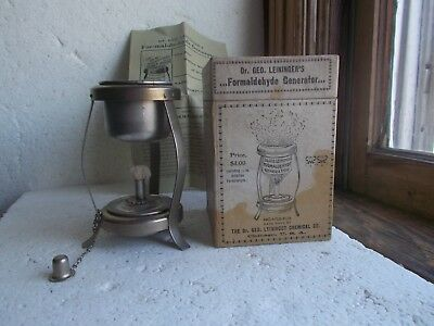 Dr.leininger's Formaldehyde Generator 110 Yr Old Medical Device In Box W/flyer