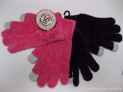 Authentic American Heritage Girls Gloves Set-Hot Pink & Black w/Gray Tips