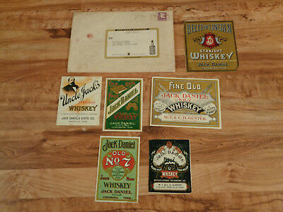 VINTAGE Jack Daniels Whisky Label Lot of 6 w/Envelope From Distillery